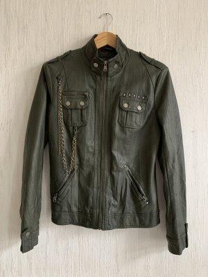 Cipo Baxx Bikerjacke Jacke PU Khaki Lederjacke Blazer retro vintage grunge studded