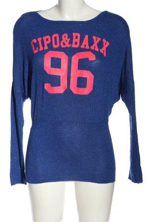 Cipo & Baxx Longsleeve blue-pink printed lettering casual look