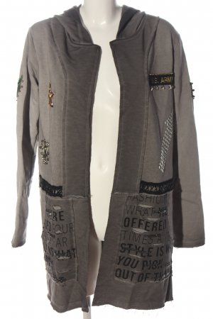 Cipo & Baxx Knitted Coat light grey printed lettering casual look