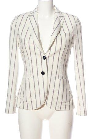 Circolo Strickblazer weiß-lila Streifenmuster Casual-Look
