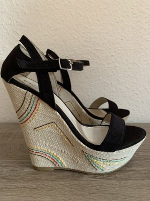 Wedge Pumps black-natural white