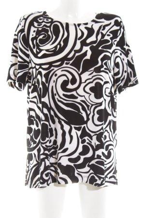 Citiknits U-Boot-Shirt weiß-schwarz abstraktes Muster Elegant