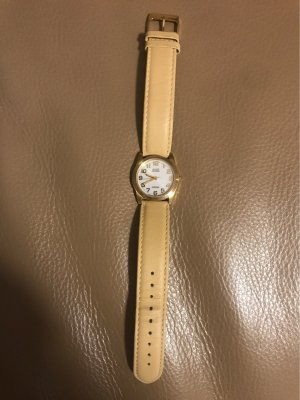 Citizen Watch With Leather Strap cream-gold-colored