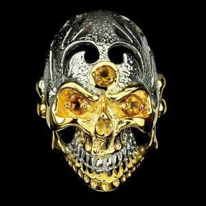 citrine Totenkopf Ring aus silber 925 14k vergoldung Grosse 57