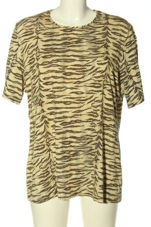city combi Geribd shirt room-bruin abstract patroon casual uitstraling
