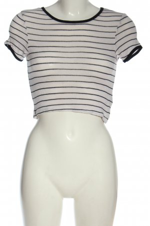 city triangles Cropped Shirt white-black striped pattern casual look