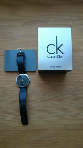 CK Calvin Klein Unisex Uhr K26211 schwarz Glattleder