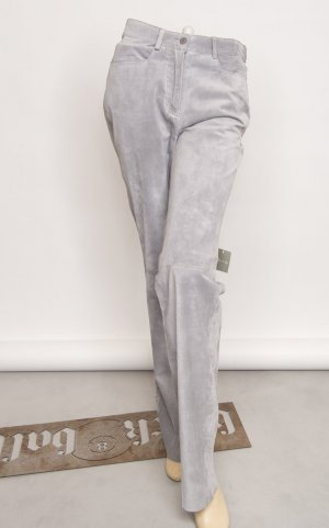 Leather Trousers silver-colored suede