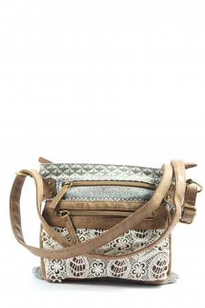claire's Torba na ramię brązowy-jasnoszary Graficzny wzór W stylu casual