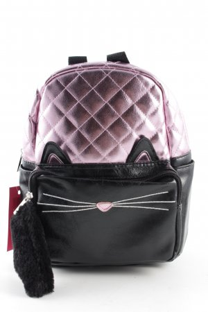 Claires Kindergarden Backpack pink-black quilting pattern casual look