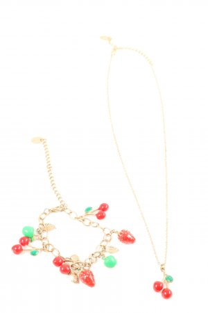 Claires Jewellery Set gold-colored-red elegant
