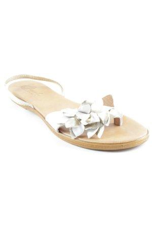 Clanto Sandales à lanière blanc cassé-doré motif floral Look de plage