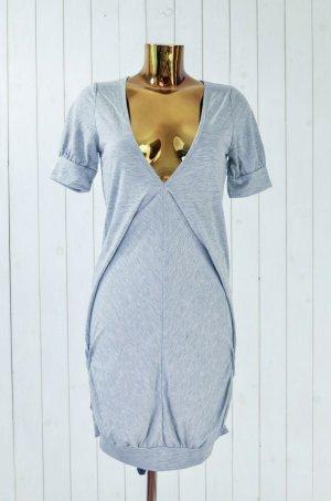 CLARA Kleid Jersey Sommer Grau V-Ausschnitt Kurzarm Gr.S