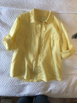 CLARINA Damen Bluse Hemdbluse 100% Leinen 3/4 Arm Gr. 40 / 42 Gelb
