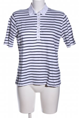 Clarina Polo Shirt white-black striped pattern casual look