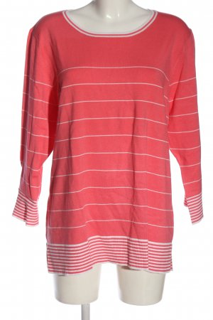 Clarina Crewneck Sweater pink-white striped pattern casual look