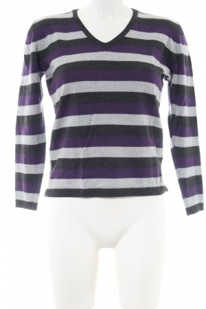 Clarina V-Ausschnitt-Pullover Streifenmuster Casual-Look