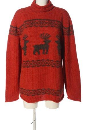 Clark Ross Jersey de lana rojo-gris claro estampado gráfico look casual