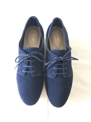 Clarks Platform Trainers dark blue-white leather