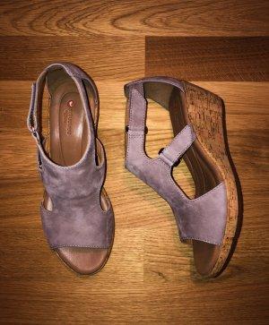Clarks Leder Sandale Sandalette Keilabsatz Taupe 39 Neu m.Etikett