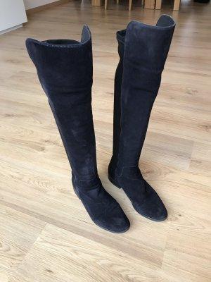 Clarks Kniehoge laarzen donkerblauw-zwart Suede
