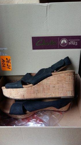 Clarks Perfect Music Damen Sandalen leder schwarz Nubuck,Gr.39 Keilabsatz 7,5cm