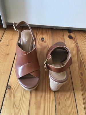 Clarks Platform Sandals multicolored leather