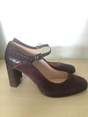 Clarks Schuhe 41 neu bordeaux weinrot Echtleder Velourleder High Heels Pumps