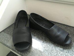 Clarks Ballerines à bout ouvert noir cuir