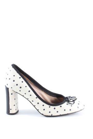 Clarks Spitz-Pumps weiß-schwarz Punktemuster Elegant