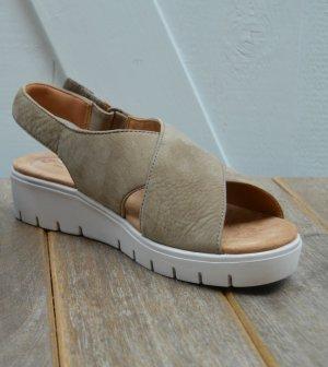 Clarks Platform Sandals green grey-light grey leather