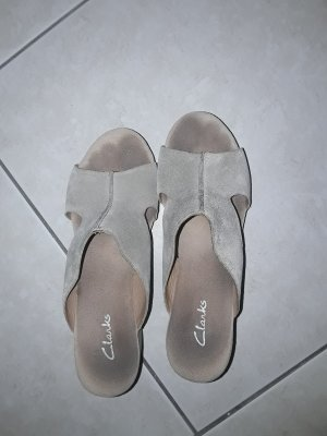 Clarks Wedge Sandals grey brown leather