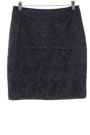 Clasen Bleistiftrock schwarz-dunkelblau florales Muster Elegant