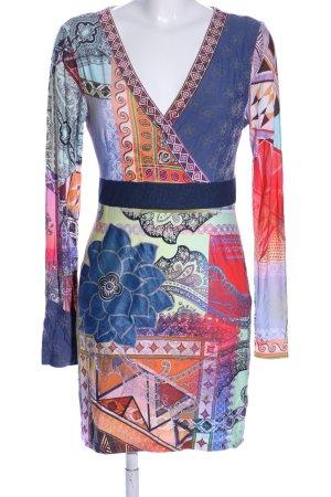 Class International Robe Hippie bleu-rouge motif abstrait style décontracté