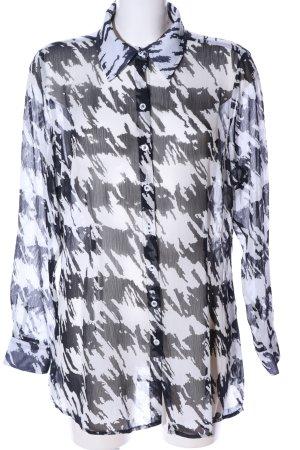 Class International Transparentna bluzka biały-czarny Abstrakcyjny wzór