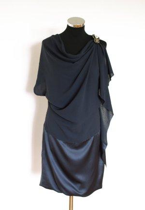 classic elegance Designer Abendkleid  –neuwertig –  Seide nachtblau 38