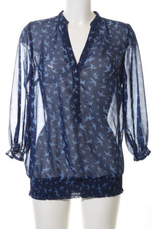 Classics meets Trends Transparenz-Bluse blau Allover-Druck Casual-Look