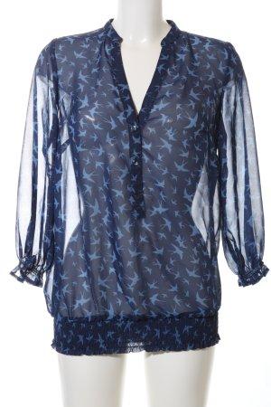 Classics meets Trends Transparent Blouse blue allover print casual look