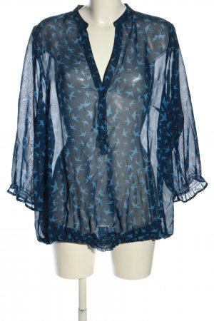 Classics meets Trends Transparenz-Bluse blau Allover-Druck Business-Look