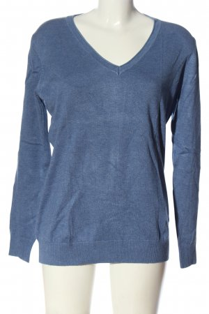 Classics meets Trends V-Neck Sweater blue flecked casual look