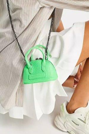 Claudia Canova Minitasche Tasche Neon Kroko Grün