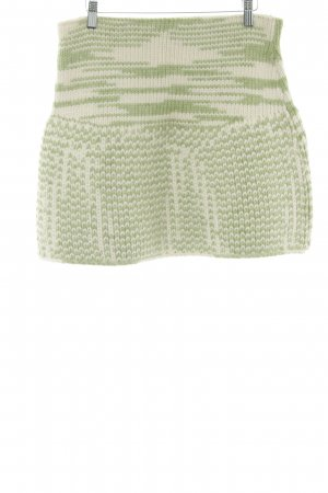 Claudia Skoda Knitted Skirt lime-green-white abstract pattern casual look