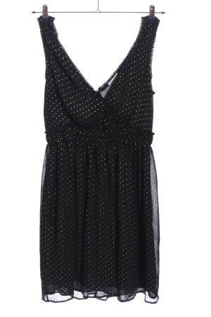 Claudie Pierlot A-Linien Kleid schwarz-goldfarben Allover-Druck Elegant
