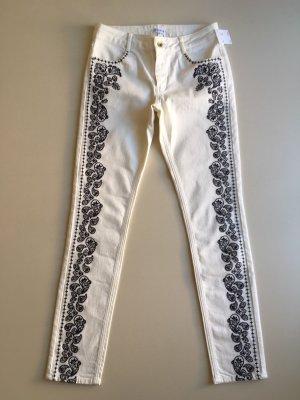 CLAUDIE PIERLOT Jeans weiß Stickerei Boho NEU