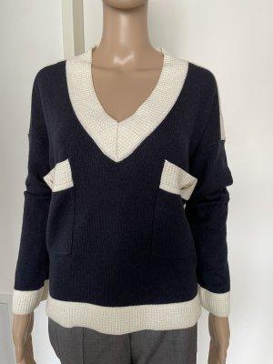 Claudie Pierlot V-Neck Sweater natural white-dark blue