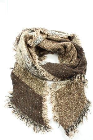 Clayre & Eef Bufanda de punto marrón-blanco puro moteado look casual