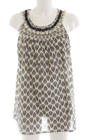 Clements Ribeiro Blusentop wollweiß-schwarz abstraktes Muster Elegant