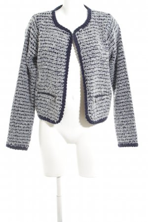 Clements Ribeiro Strick Cardigan weiß-blau Zopfmuster Business-Look