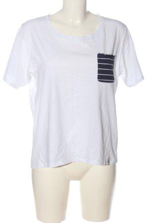 Cleptomanicx T-shirt bianco-blu motivo a righe stile casual