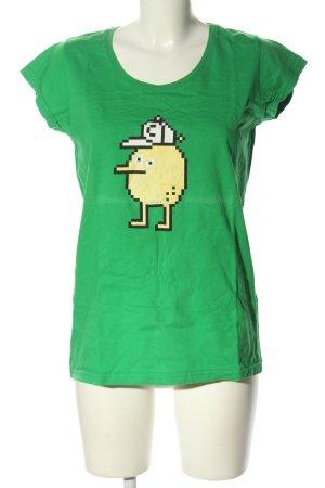 Cleptomanicx T-Shirt grün-blassgelb Motivdruck sportlicher Stil